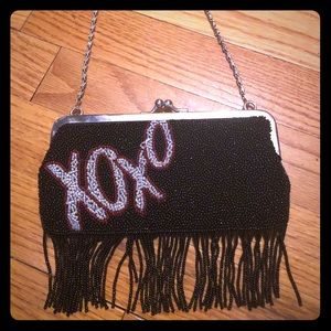 XOXO beaded fringe chain purse